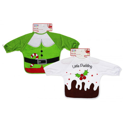Christmas Elf & Pudding Long Sleeve Bibs