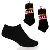 Ladies Pro Hike Performance Black Trainer Socks