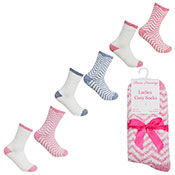 Ladies Cosy Socks With Grippers Zig Zag
