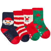 Babies 2 Pack Xmas Cosy Socks With Grippers
