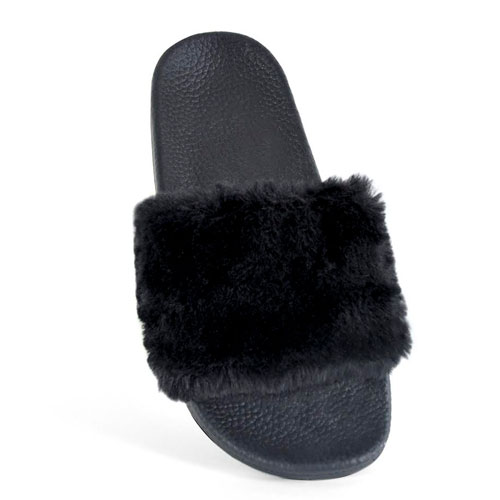 Ladies Fur Cuff Pool Slides