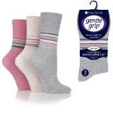 Ladies Gentle Grip Socks Stripes Light Mix