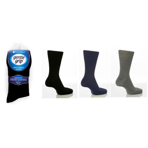 Mens Gentle Grip Cotton Blend Socks Dark Colours