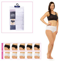 Ladies Plain Briefs 5 Pack White/Black