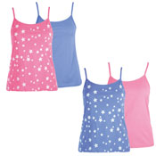 Ladies Twin Pack Star Print Cotton Vests Set
