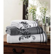 Egyptian Cotton Belvoir Hand Towels White with Grey Trim