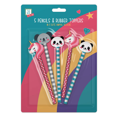 Kids Rainbow Pencils And Toppers 5 Pack