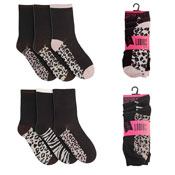 Ladies Leopard Print 3 Pack Socks