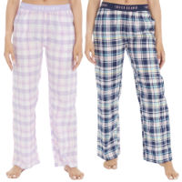 Ladies Woven Check Pants Long