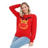 Ladies Christmas Rudolph Face Mask Jumper