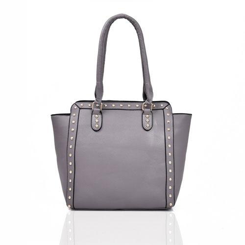 Luna Studded Wing Tote Bag Grey