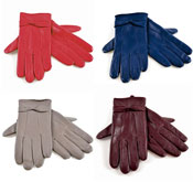 Ladies Leather Gloves With Bow Coloured