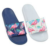 Ladies Flamingo Print Pool Slides White/Navy