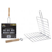 BBQ Grill Chrome With Wooden Handle