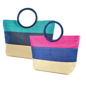 Block Stripe Ring Handle Straw Beach Bag