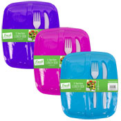 3 Section Lunch Box With Cutlery Set