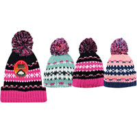 Girls Heat Machine Pom Pom Hats Patterned