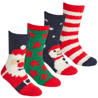 Kids 2 Pack Xmas Cosy Socks With Grippers