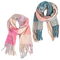 Ladies Oversized Scarf Large Pastel Check