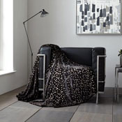 Metallic Stars Faux Mink Throw Black