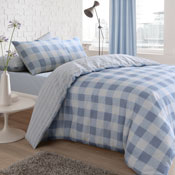 Gingham Check Blue Reversible Duvet Set
