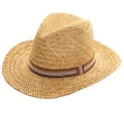 Mens Straw Fedora Stripey Band Hat
