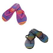 Ladies Rainbow Stripe Flip Flops