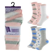 Ladies Stripe/Dot Thermal Socks 3 Pack