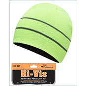 Adults Hi Vis Reversible Thermal Hat With Stripes