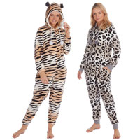 Ladies Animal Print Fleece Onesie