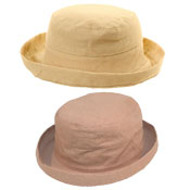 Womens Linen Sun Hat With Turn Up Brim