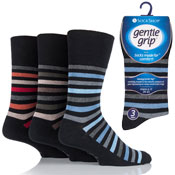 Mens Gentle Grip Socks Ollie Bold Stripe Black