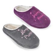 Ladies Sleeping Slogan Soft Mule Slippers