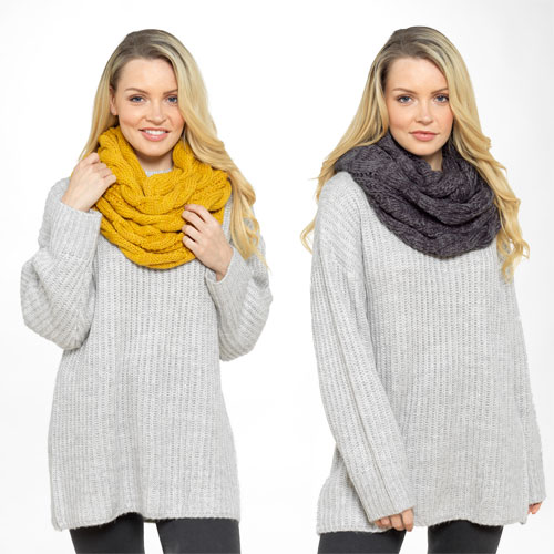 Ladies Knitted Snood Scarf Assorted