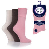 Ladies HoneyComb Top Gentle Grip Socks Pink Brown