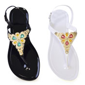 Ladies Jelly Flip Flop With Jewel Strap