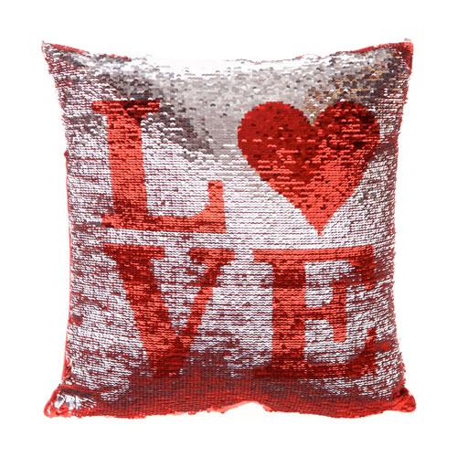 LOVE Sequin Filled Cushion Silver & Red