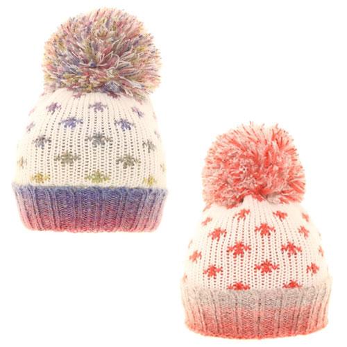 Girls Spotty Knitted Pom Pom Hat