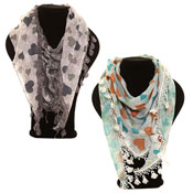 Fashion Scarf Dana Skull & Heart Print