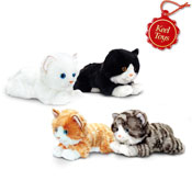Laying Cats 4 Assorted Cuddly Soft Toys