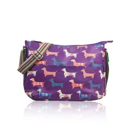 Sausage Dog Multi Purpose Crossbody Bag Purple