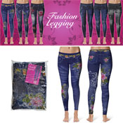 Denim Look Fashion Leggings Light Rose