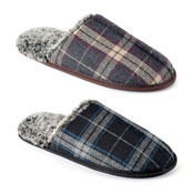 Mens Checked Upper Memory Foam Slippers