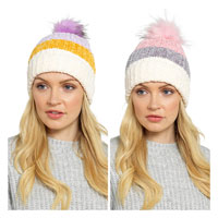 Ladies Chunky Multi-Coloured Bobble Hat
