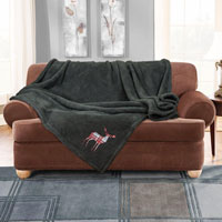 Stag Embroidered Soft Teddy Feel Throw Charcoal