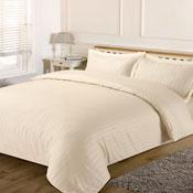 Satin Stripe Cream Duvet Set