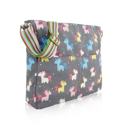 Unicorn Canvas Crossbody Bag Grey