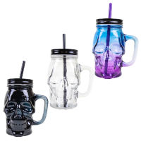 Halloween Skull Jar With Lid And Straw