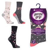 Ladies Gentle Grip Charcoal Flora Fauna Socks