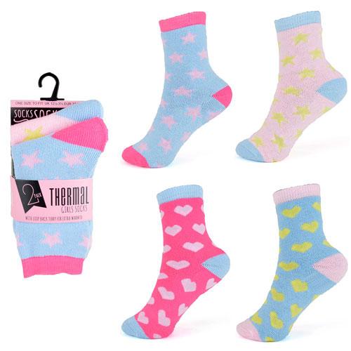 Girls Thermal Spot Design Socks